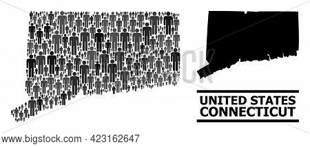 Map Of Connecticut State For Politics Agitprop. Vector Demographics Mosaic. Concept Map Of Connectic