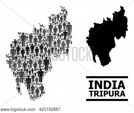 Map Of Tripura State For Demographics Projects. Vector Demographics Mosaic. Mosaic Map Of Tripura St