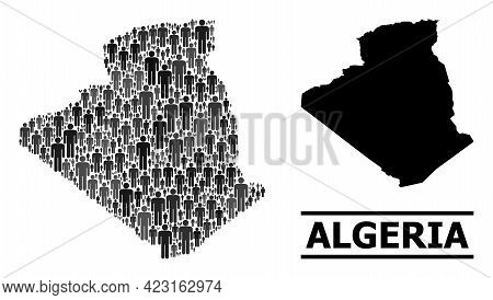 Map Of Algeria For National Promotion. Vector Nation Collage. Concept Map Of Algeria Organized Of Pe