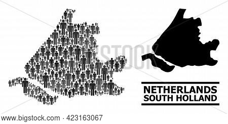Map Of South Holland For Demographics Doctrines. Vector Demographics Mosaic. Concept Map Of South Ho