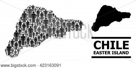 Map Of Easter Island For Social Doctrines. Vector Population Collage. Collage Map Of Easter Island C