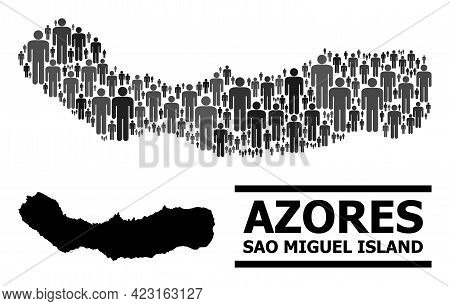 Map Of Sao Miguel Island For Demographics Posters. Vector Demographics Mosaic. Mosaic Map Of Sao Mig