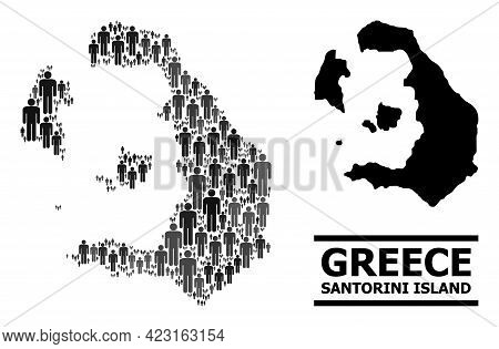 Map Of Santorini Island For Political Projects. Vector Nation Collage. Concept Map Of Santorini Isla