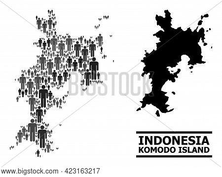 Map Of Komodo Island For Demographics Purposes. Vector Demographics Collage. Pattern Map Of Komodo I