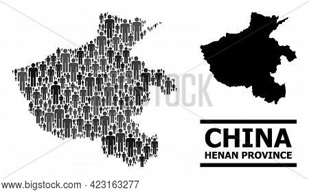 Map Of Henan Province For Demographics Projects. Vector Demographics Mosaic. Collage Map Of Henan Pr