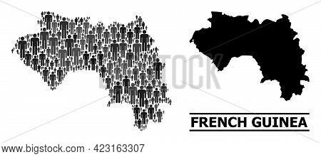 Map Of French Guinea For Social Propaganda. Vector Demographics Abstraction. Collage Map Of French G