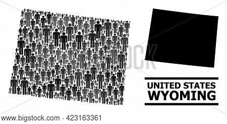 Map Of Wyoming State For Demographics Proclamations. Vector Nation Abstraction. Abstraction Map Of W