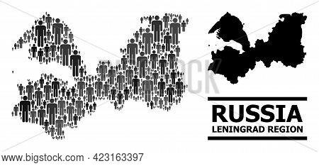 Map Of Leningrad Region For Social Purposes. Vector Population Collage. Collage Map Of Leningrad Reg