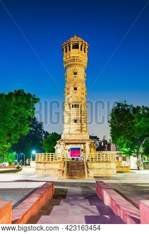 Kirti Stambh Tower At The Hutheesing Temple, The Best Known Jain Temple In Ahmedabad City In Gujarat