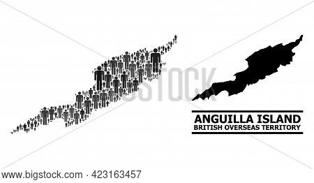 Map Of Anguilla Island For National Propaganda. Vector Population Mosaic. Collage Map Of Anguilla Is