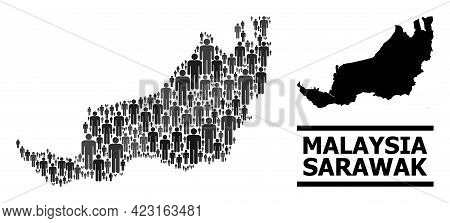 Map Of Sarawak For Political Posters. Vector Population Collage. Concept Map Of Sarawak Composed Of