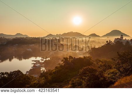 Mount Abu And Nakki Lake Aerial Panoramic View At Sunset. Mount Abu Is A Hill Station In Rajasthan S