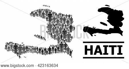 Map Of Haiti For Politics Projects. Vector Nation Mosaic. Mosaic Map Of Haiti Constructed Of Human E