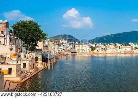 Ghats At Pushkar Lake In Pushkar Town In Rajasthan State Of India