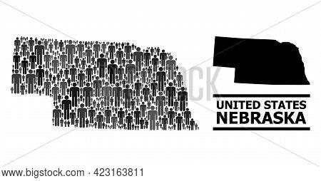 Map Of Nebraska State For Demographics Proclamations. Vector Demographics Collage. Collage Map Of Ne