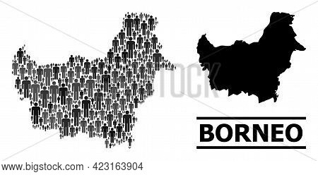 Map Of Borneo Island For Demographics Projects. Vector Demographics Abstraction. Concept Map Of Born
