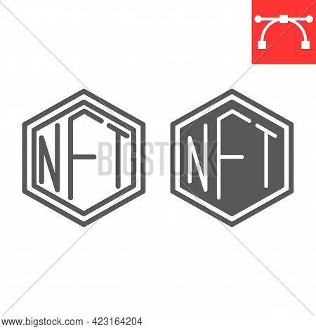Nft Line And Glyph Icon, Token And Blockchain, Non Fungible Token Vector Icon, Vector Graphics, Edit