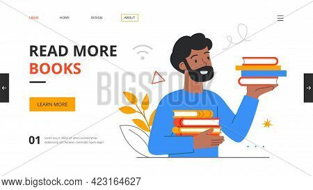 Bearded Male Character Literature Fan With Books. Reading Man, Student Studying Or Preparing For Exa