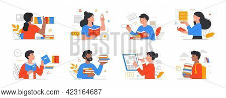 People Literature Fans With Books. Collection Of Reading Man And Woman, Students Studying Or Prepari