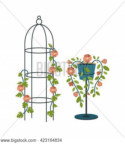 Decorative Pillars And Plant Stand. Vintage Dome Cage For Climbing Crops. Fashionable Retro Pots Wit