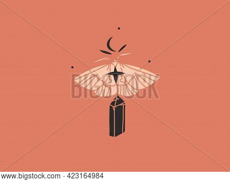 Hand Drawn Vector Abstract Stock Flat Graphic Illustration With Brandinglogo, Celestial Bohemian Mag