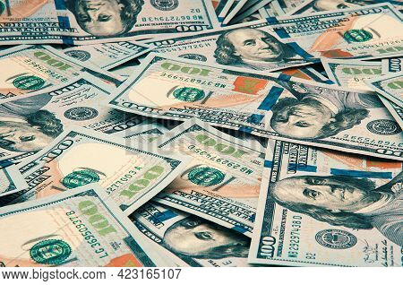 Cash Hundred Dollar Bills, Dollar Background Image. Scattered Dollars. A Big Pile Of Dollars. Backgr