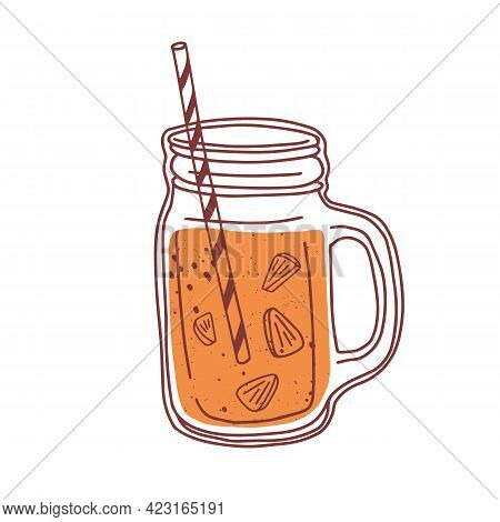 Summer Orange Cocktail In Glass Jar With Handle And Straw. Natural Juicy Smoothie. Detox Refreshing