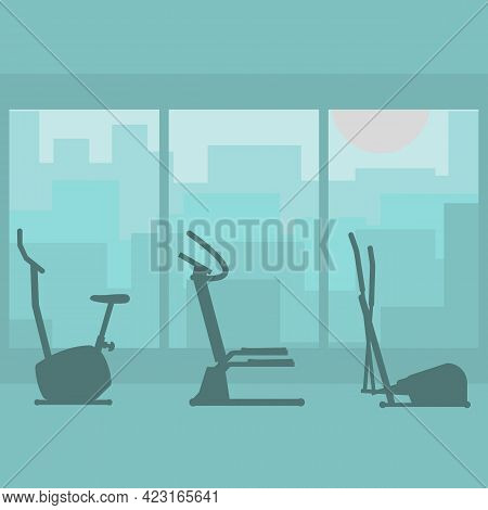 Fitness Gym With Silhouettes Sports Equipments. Interior Room Of Fitness Center. Set Of Silhouettes