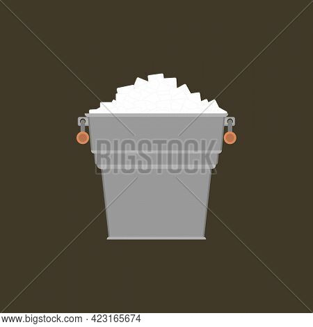 Pail With White Ice. Small Metal Bucket With Pile Square Ice Cubes. Icon. Vector Illustration On Whi