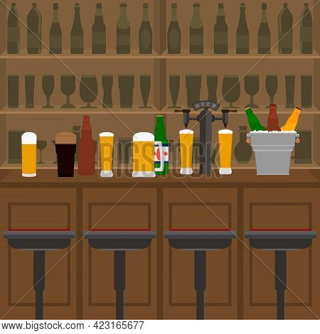 Interior Of Pub, Cafe Or Bar With Counter, Glasses Of Beer, Beer Pump And Ice Pail. Inside Drinking