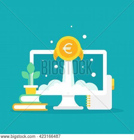 Laptop Screen With Golden Euro Coin As Rocket. Money Shuttle On Blue Background. Freelancer, Designe
