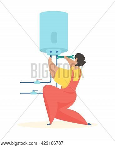 Plumber Connects Boiler. Water Heater Cleaning And Repair. Man In Uniform Connects Pipes To Tank Wit