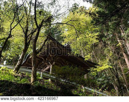 Kumakogen, Ehime Prefecture, Japan - April 10, 2018: Buddhist Pavilion Along The Mountain Path Leadi
