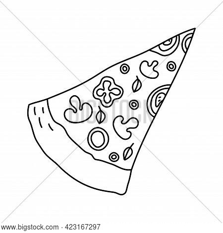 Slice Of Pizza. Fast Food Sketch. Cartoon Black And White Line Illustration. Unhealthy Meal. Vector