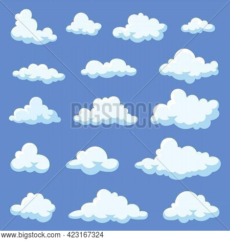 Set Of Cartoon Clouds Isolated On Blue Background. White Fluffy Vapors Illustrations In 2d Style. Ca