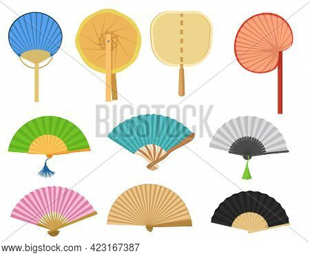 Different Hand Fans Vector Illustrations Set. Vintage Japanese Or Chinese Paper Fan Designs Isolated