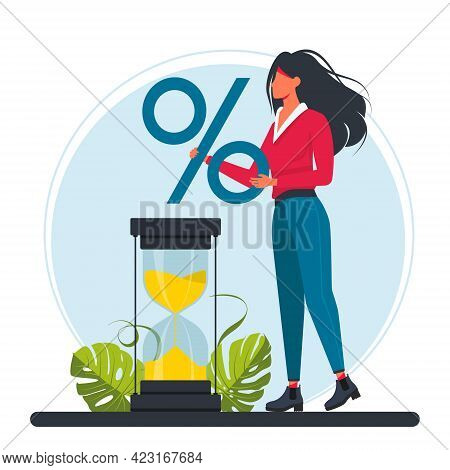 The Businesswoman Stands By A Large Hourglass And Holds A Large Percent Sign In Her Hands. Relations