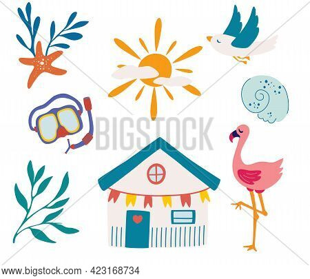 Elements For Sea Recreation. Beach Items For Sea Recreation. Bungalow, Gull, Swimming Mask, Flamingo