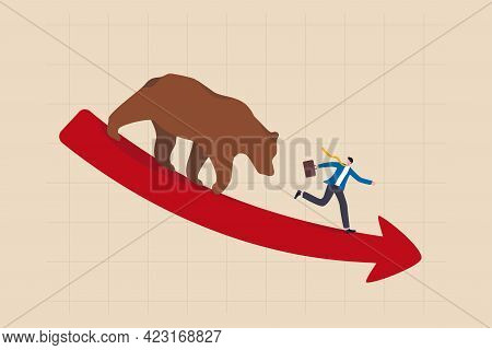 Bear Market, Stock Decline By Economic Crisis, Recession Or Bubble Burst, Crypto Currency Price Goin