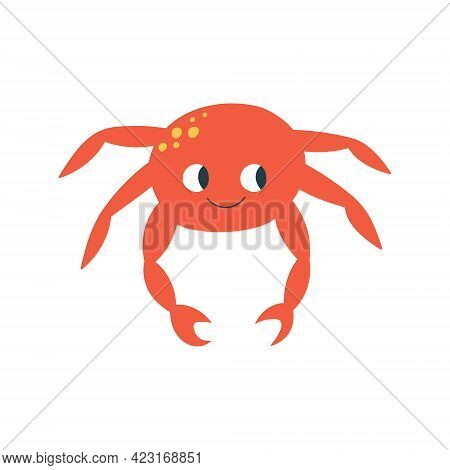 Cute Hand Drawn Crab With Happy Facial Expression. Vector Illustration Isolated On White Background.