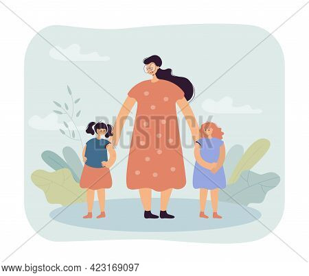 Woman Reconciling Children Vector Illustration. Female Characters Trying Make Peace Between Two Litt