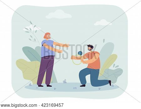 Man Proposing To Woman Vector Illustration. Male Character Standing On One Knee Giving Wedding Ring