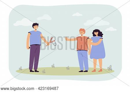 Children Arguing Vector Illustration. Boy Offering Kids Play Slingshot, Another Boy Angry At It, Ref