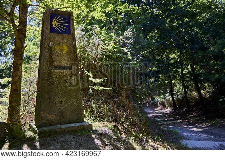 Santiago De Compostela (spain), June 9, 2021. Landmark Of The Camino De Santiago. The End Of The Res
