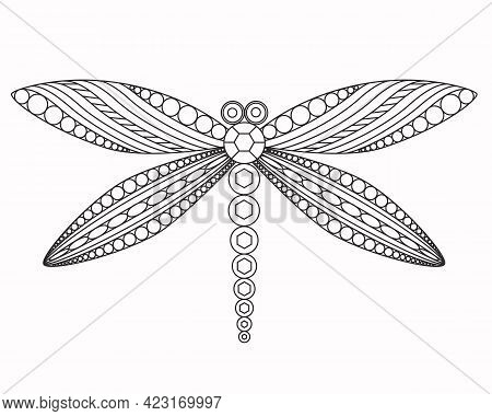 Dragonfly, Vector Graphic Illustration. A Beautiful Graceful Insect With Patterned Wings. Black Engr