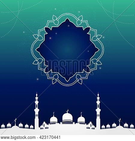 Islamic Holiday Banner Design With Copy Space. Stars Of Night Sky For Arabic Eid Al Adha Mubarak, Ra