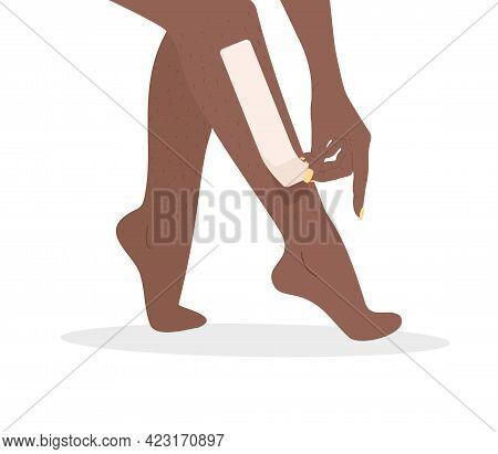 Hair Removal. Wax Strips Epilation. Perfect Smooth African Female Legs. Vector Illustration In Flat