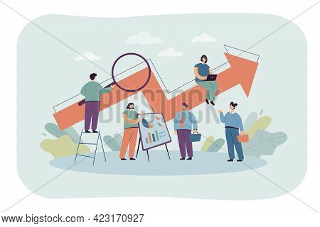 Cartoon Office People With Up Arrow. Team Advertising Business Technology, Performance Boost Flat Ve
