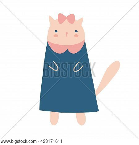Cute Hand Drawn Vector Illustration With Little Cat Girl. Lovely Nursery Art With Funny Kitty In A B