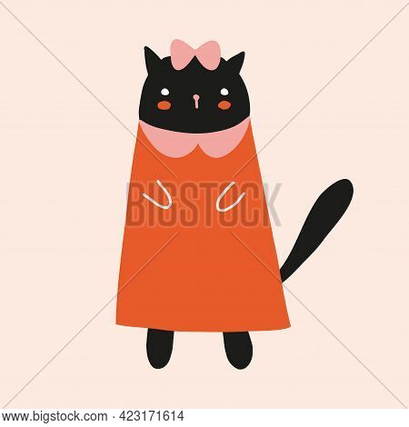 Ute Hand Drawn Vector Illustration With Black Cat Girl. Lovely Nursery Art With Funny Kitty In A Red